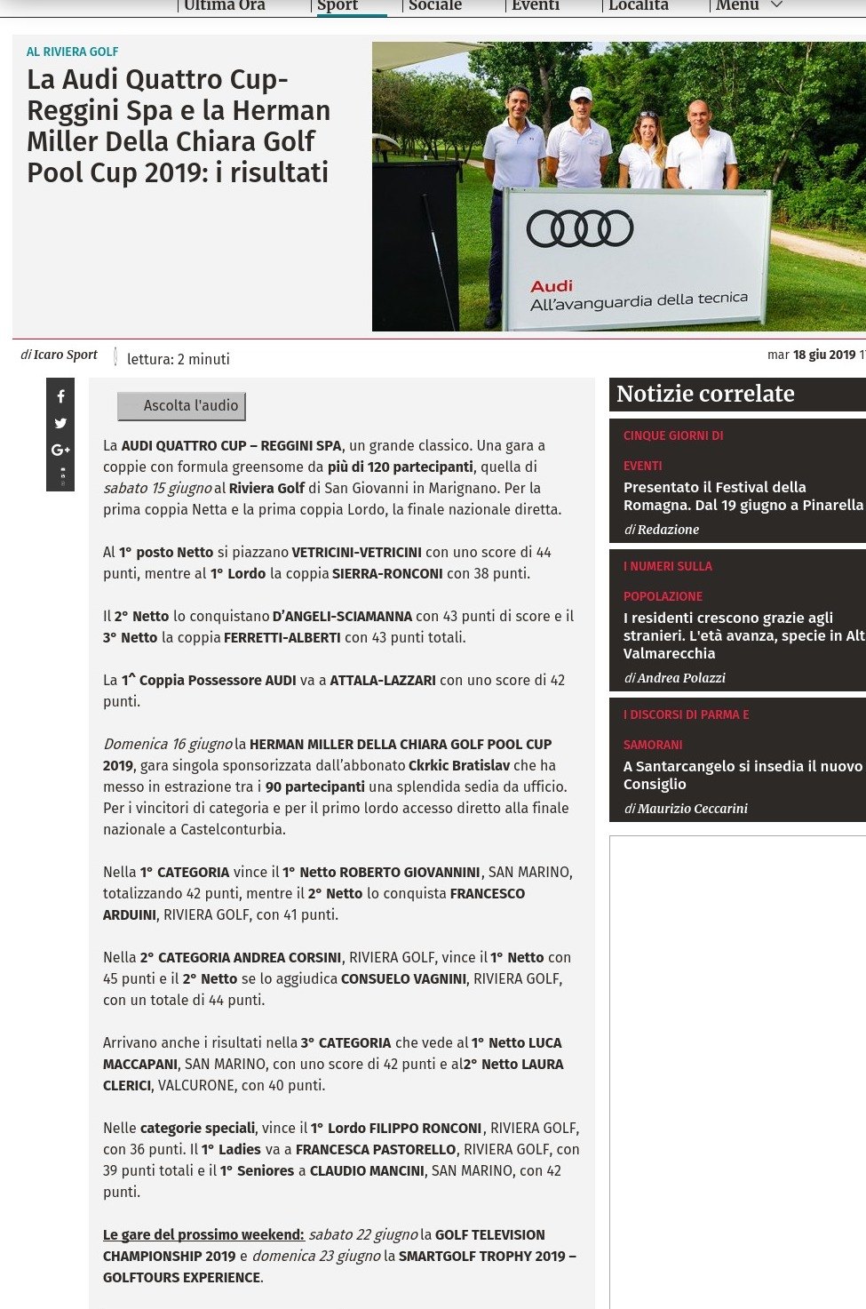 La Audi Quattro Cup-Reggini Spa e la Herman Miller Della Chiara Golf Pool Cup 2019: i risultati